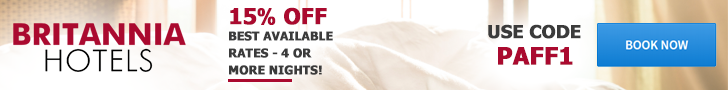 Britannia Hotels 15% off 4 or more nights code PAFF1 valid to 30 Apr