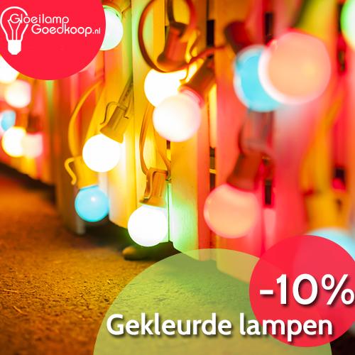 Gekleurde lampen 10% korting