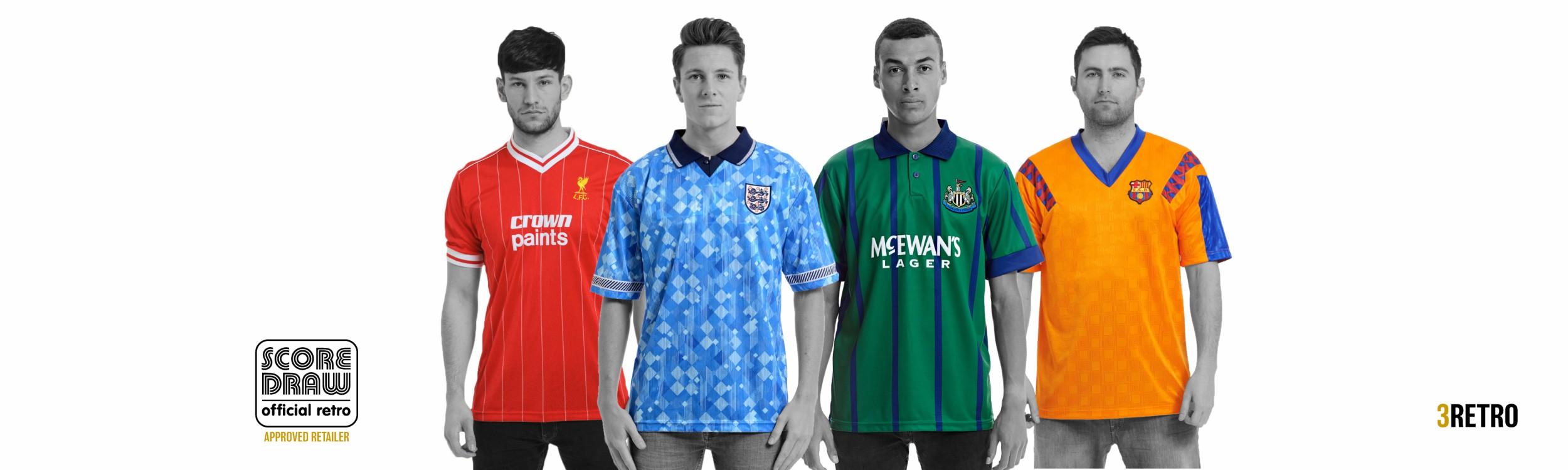 Retro football tshirts and sportswear