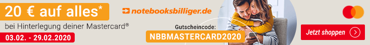 Notebooksbilliger.de - 20 Euro Gutschein mit Mastercard - ab 70 € MBW - viele Technik-Schnäppchen