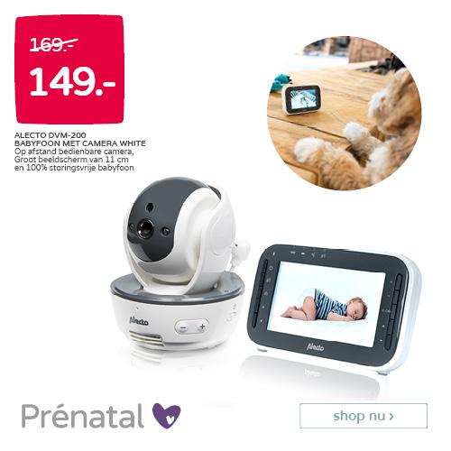 Prénatal Babydeals! Alecto DVM-200 Babyfoon met camera white van 169.- voor 149.-