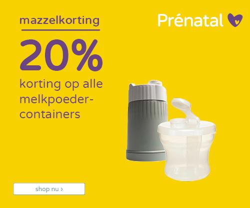 20% korting op alle melkpoedercontainers