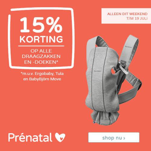 Prénatal weekenddeal! 15% korting op alle draagzakken en -doeken*