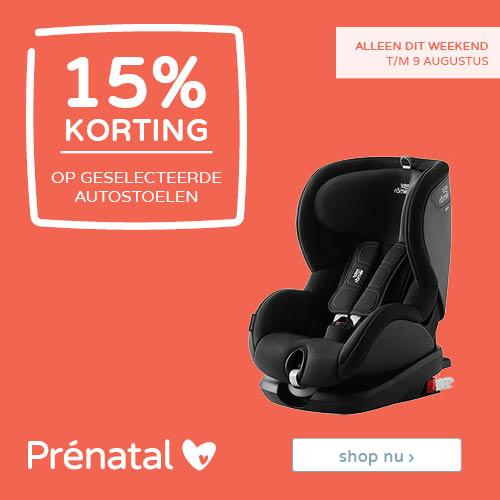 Prénatal Weekenddeal! 15% korting op geselecteerde autostoelen