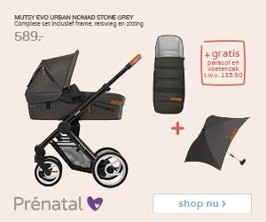 Prénatal Baby uitzetweken! Mutsy Evo urban stone grey voor 589.- inclusief parasol en voetenzak
