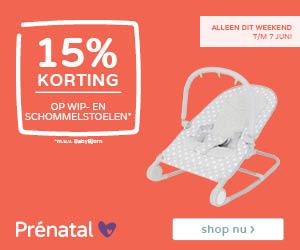 Prénatal weekenddeal! 15% korting op wip- en schommelstoelen*