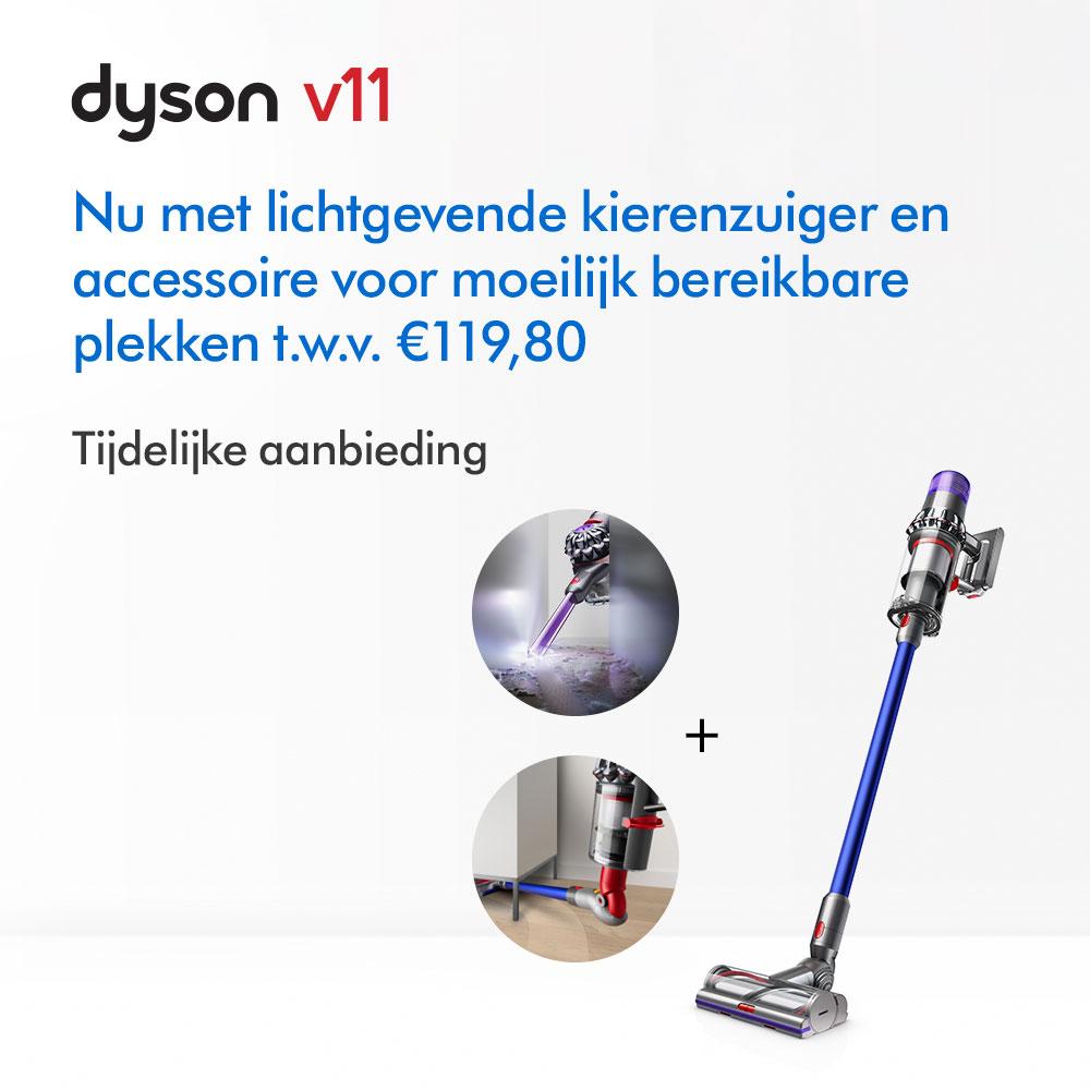 Dyson Nu met lichtgevende kierenzuiger en accessoire voor moeilijk bereikbare plekken t.w.v. €119,80