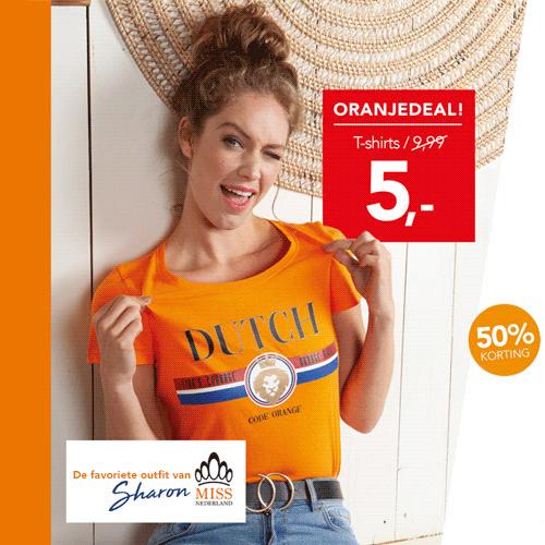 Oranjeshirts van € 9,99 voor € 5,-