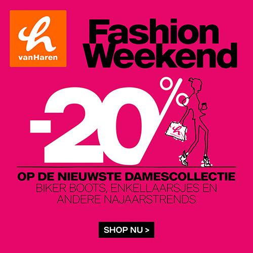 Van Haren Fashion weekend 20% korting op de nieuwste damescollectie, biker boots en enkele andere najaarstrends