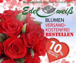 Blumenversand Edelweiß - 10% Rabatt zum Valentinstag - Jetzt Gutschein einlösen