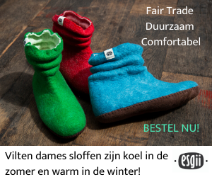 Vilt dames sloffen fair trade duurzaam comfortabel