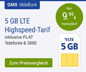 GMX Allnet-Flat 5 GB für nur 9,99 €