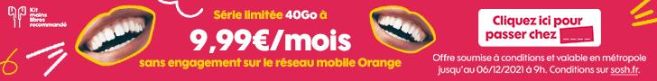 Sosh : le forfait mobile 50Go à 9.99€ pendant 1 an