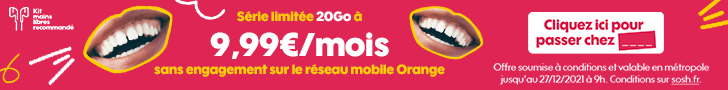 Sosh : le forfait mobile 20Go à 9.99€ pendant 1 an