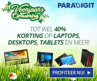 Tot wel 40%korting op laptops, desktops, talats en meer bij de Voorjaarsopruiming van Paradigit