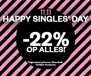 11.11 Happy Singles' day 22% korting op alles