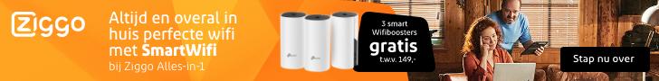 3 smart Wifiboosters gratis t.w.v. €149,-. Altijd en overal in huis perfecte wifi met SmartWifi bij Ziggo Alles-in-1.