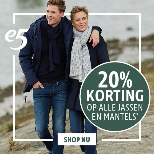 20% korting op alle jassen en mantels