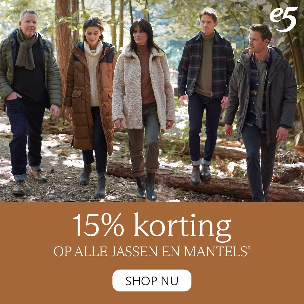 15% korting op alle jassen en mantels