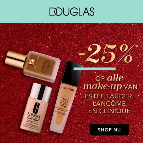 25% korting bij Douglas op alle make-up van Estée Lauder, Lancôme en Clinique