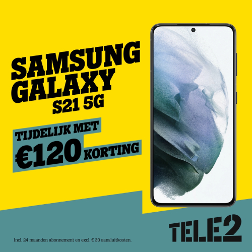 Tele2 De beste Deal - Samsung S21 5G tijdelijk met € 120,- korting