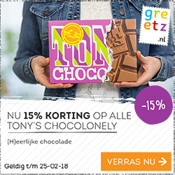 15% Korting op Tony Chocolonely