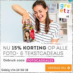 15% Korting op Foto & Tekst cadeaus