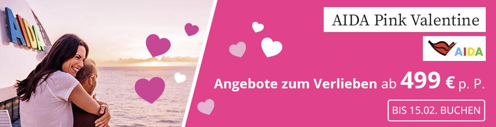 AIDA Aktion Valentinstag 2021, aida Pink Valentine, aida schnäppchen, aida aktion, aida angebot