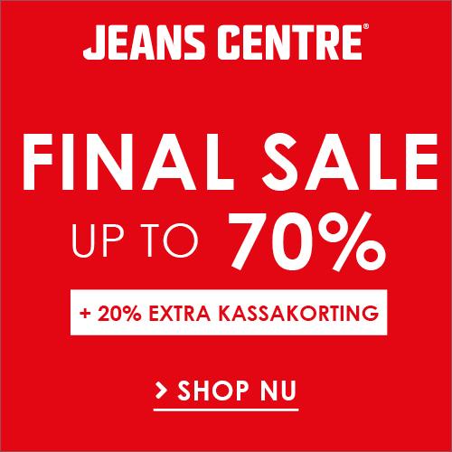 Jeans Centre SALE kortingen tot 70%. T/m 30 augustus krijgen alle klanten 20% extra korting bij Jeans Centre op boven op de sale prijs!